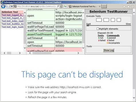 that page can t be the of the page can t be displayed intermittent selenium test imvu engineering