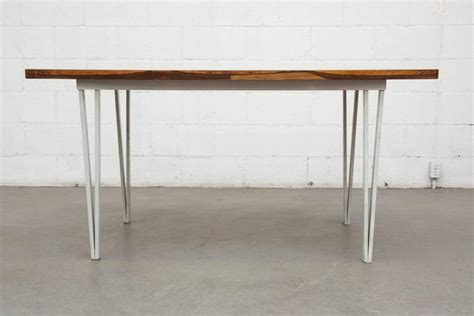 Dining Table Metal Frame Modern Rosewood Bowed Top Dining Table With White