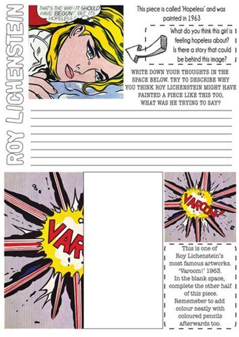 printable art lessons worksheets roy lichtenstein pop art worksheet with literacy task