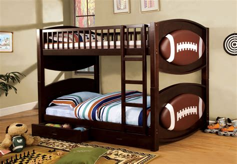 sports themed bedroom furniture foa furniture of america football twin twin bunk bed