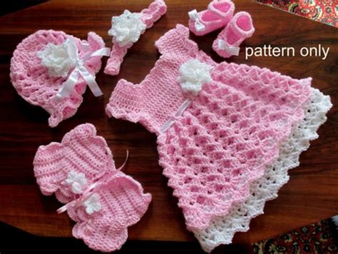 Baby Dress Baby Shoes baby set crochet pattern baby dress hat shoes headband