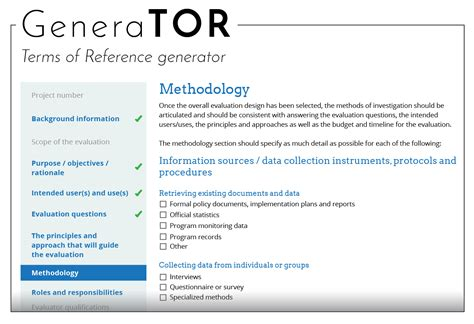 pmo terms of reference template how to use betterevaluation s generator a tool for
