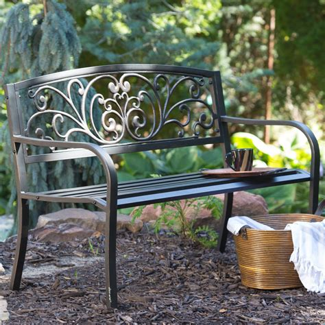coral coast scrolling hearts curved back metal garden bench outdoor benches at hayneedle