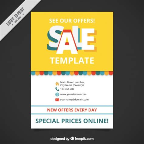 cute sale brochure template vector free download