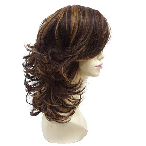 Medium Hairstyles For Thick Curly Hair by Strongbeauty S Wig Auburn Layered Medium Curly