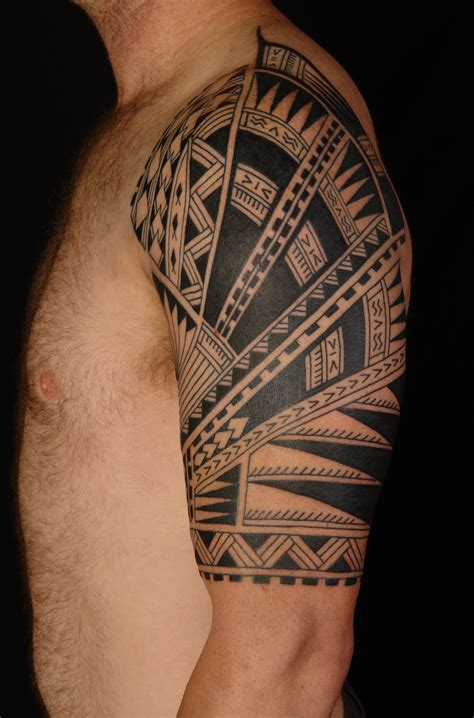 guy half sleeve tattoos hawaiian images designs