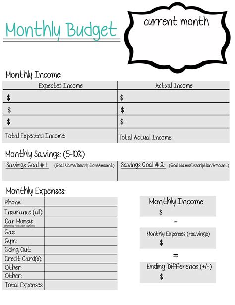 A Free Printable Monthly Budget Sheet Created For Young Adults Who Still Live At Home And Don Budget Template For Adults