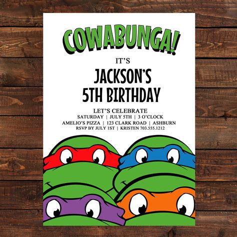 Turtle Birthday Card Template by Mutant Turtles Birthday Invitations