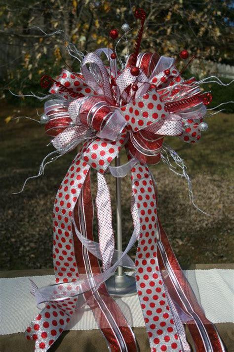 christmas tree topper bow topper ribbon topper silver