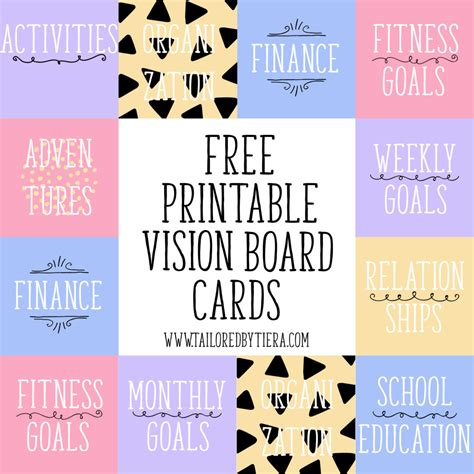 goal card template vision board cards setting and maintaining goals
