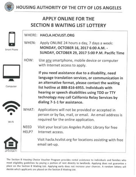 what section 8 waiting list is open los angeles city section 8 waiting list to open october 18