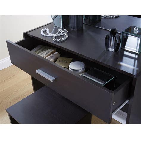 Simple Vanity Table Simple Espresso Dressing Table Set Vanity Desk Stool Mirror Dresser Modern Ebay