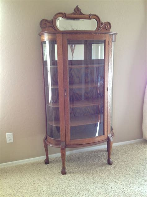 Antique Oak China Cabinet Curved Glass Original With Curved Glass Antique China Cabinet