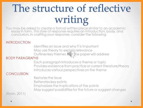structured reflective template 9 writing reflective essay agenda exle