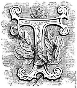 floriated initial letter t