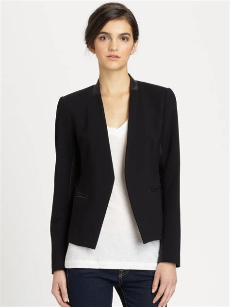 panel blazer theory lanai huntington leather panel blazer in black lyst