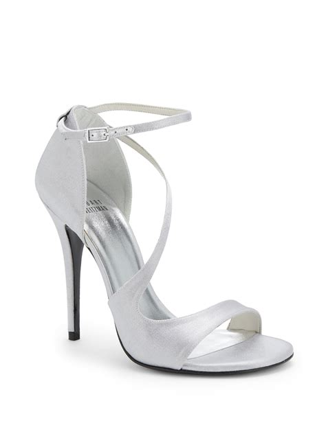 silver strappy evening sandals stuart weitzman vixen strappy satin evening sandals in