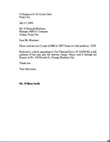Business Letter Sample Purchase Order order letter