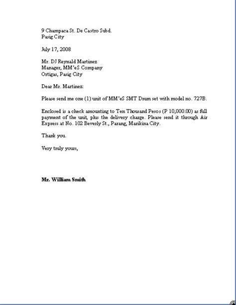 Sle Purchase Order Letter India business letter format order 28 images business letter