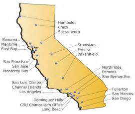 map of california state universities choosing a csu cus graduate programs