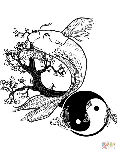 yin yang coloring book pages fish yin and yang tattoo coloring page free printable