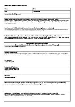 model lesson plan template danielson model lesson plan template by dotdotdot tpt
