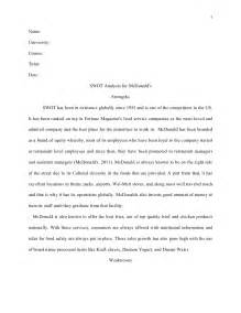 Analytical Report Writing Sle by Harvard Style Essay Swot Analysis For Mc Donald S