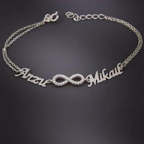 personalized 2 name silver bracelet