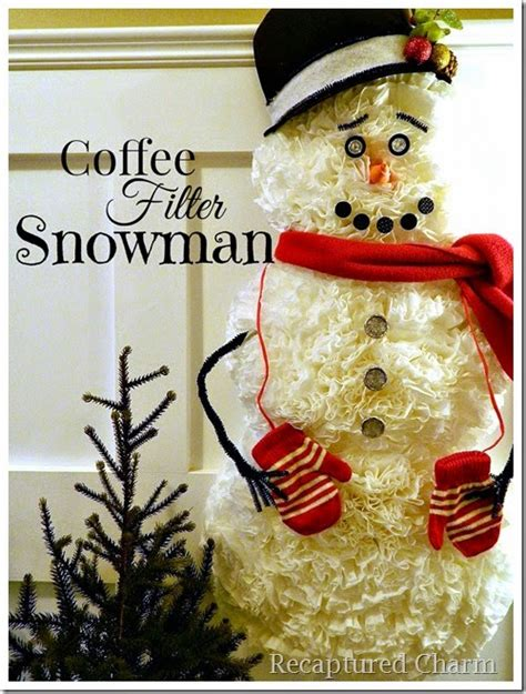 hometalk how to make a snowman using coffee filters