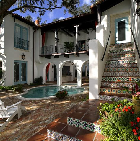 spanish courtyard designs handmade tile risers on outdoor staircase leading to