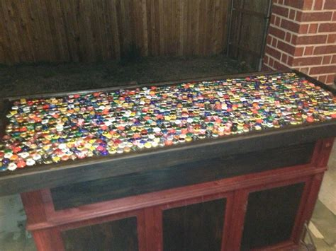 how to make a bottle cap bar top beer bottle cap bar top bar ideas pinterest