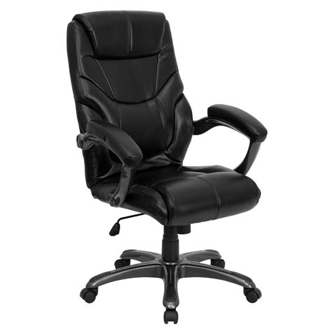 Desk Chairs High Back Black Leather Overstuffed Executive Office Soapp Culture Flash Furniture High Back Black Leather Overstuffed Executive Office Chair By Oj Commerce Go