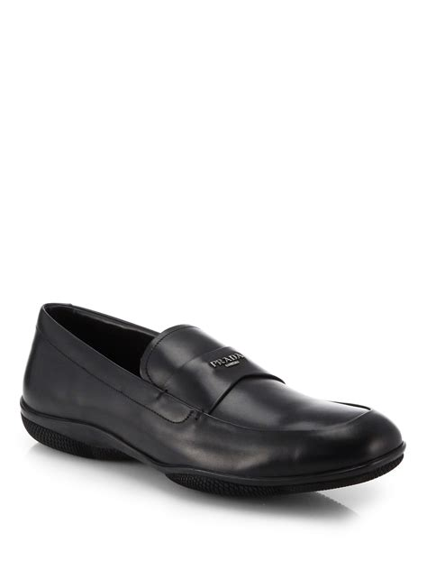 prada mens loafer lyst prada leather logo loafers in black for