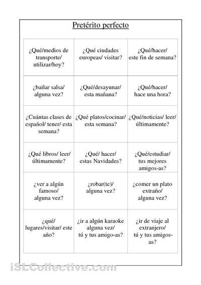 las preguntas en espanol preguntas con el preterito perfecto verbos pret 233 rito