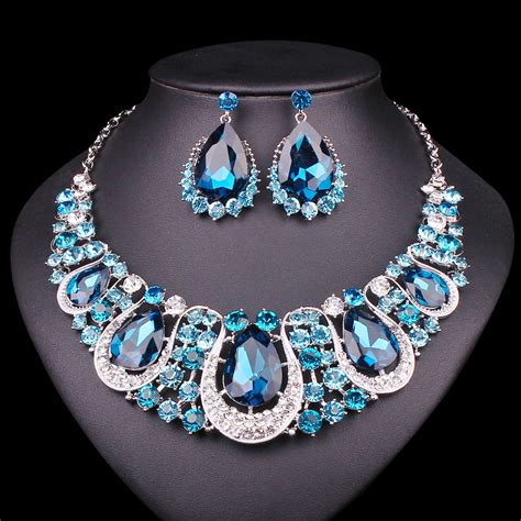 landau jewelry costume jewelry bridal jewelry fashion indian jewellery crystal necklace earrings set