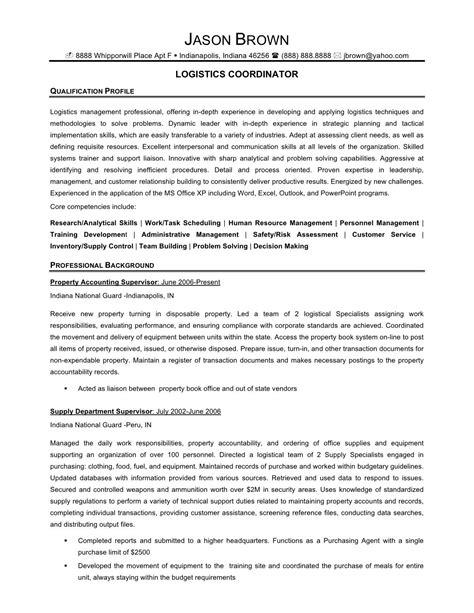 Logistics Coordinator Resume by Senior Logistic Management Resume Logistics Coordinator