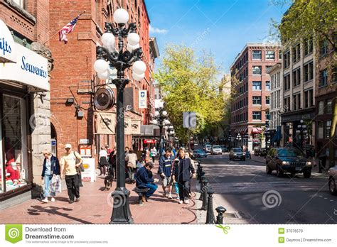 Water Street In Historic District Gastown, Vancouver Editorial Image   Image: 37076570
