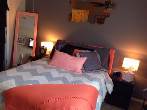chevron bedrooms coral peach grey chevron bedroom my pins pinterest