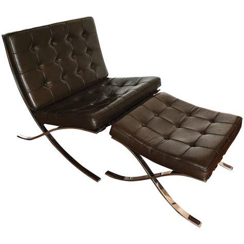 knoll furniture barcelona mocha brown leather barcelona chair and ottoman by ludwig