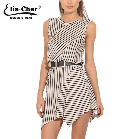 plus size casual chic style eliacher women asymmetric stripe dress 2016 plus size