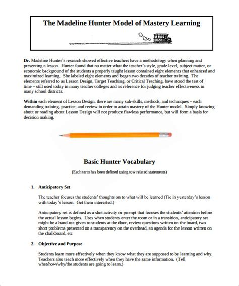 sle madeline hunter lesson plan 10 documents in pdf