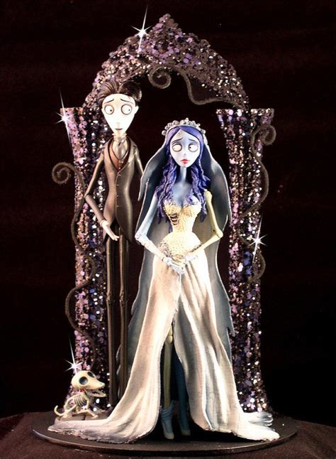 corpse bride wedding cake topper tim burton lighted