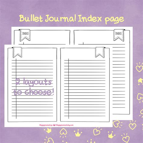 printable bullet journal inserts printable bullet journal index and key page stickers