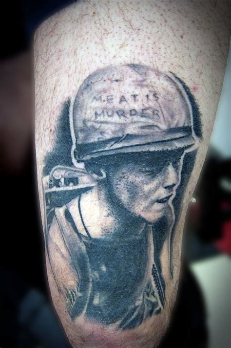 cover art from the smiths album meat is murder tattooed