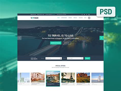 Voyage Free Travel Psd Template Freebiesbug Easy To Build Websites From Templates
