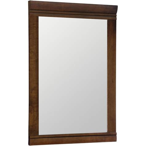 framed mirrors for bathroom shop style selections windell 29 5 in h x 20 5 in w auburn rectangular bathroom mirror at lowes com