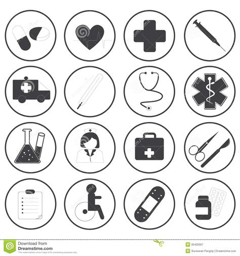 basic medical icons vector collection stock vector