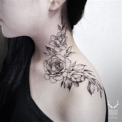 tattoo placement neck the rose neck tattoo by kat abdy is soft and an ideal girl