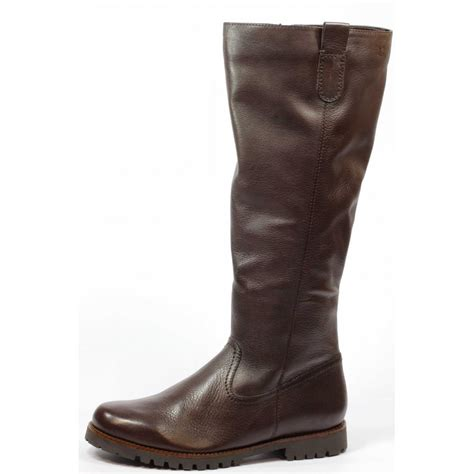 caprice brown leather flat knee high boot footwear