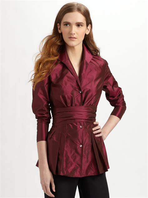Dmj New York Blouse lafayette 148 new york silk taffeta blouse in purple lyst